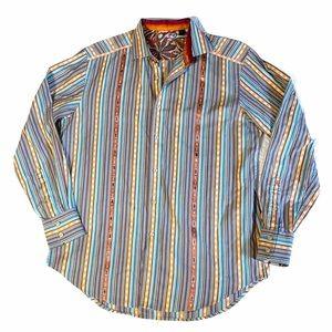 Robert Graham men's medium dress shirt striped